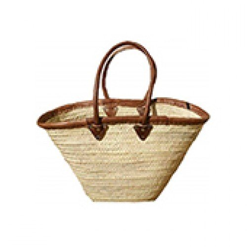 Panier couffin XL ourlet cuir