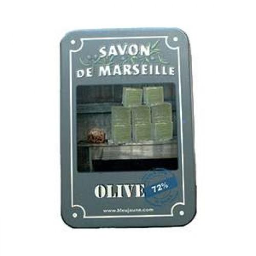 Boite voyage metal et savon de Marseille olive pur végétal beurre karité
