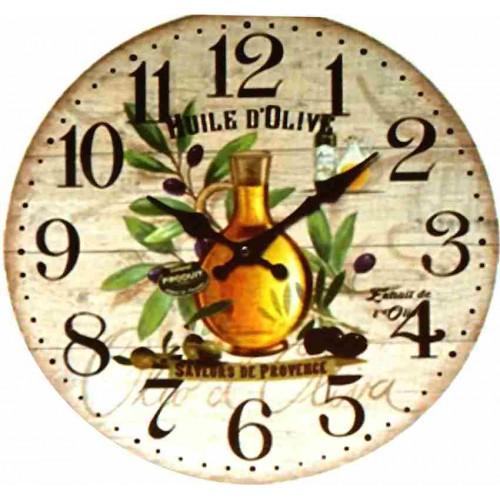 Horloge murale huile olive