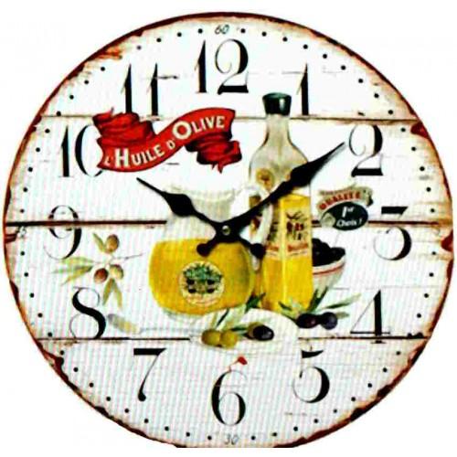 Horloge murale provence olive