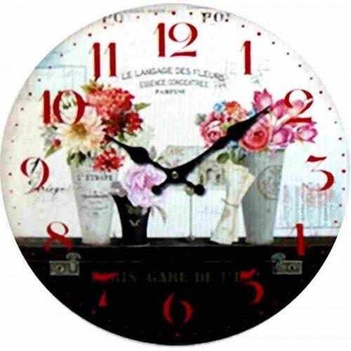 Horloge murale Fleurs vintage