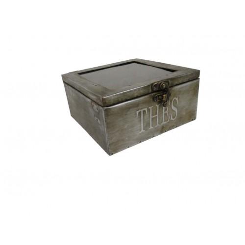 Boite à thé vintage en zinc