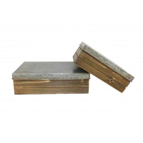 Boites rangement rectangulaires en zinc et bois