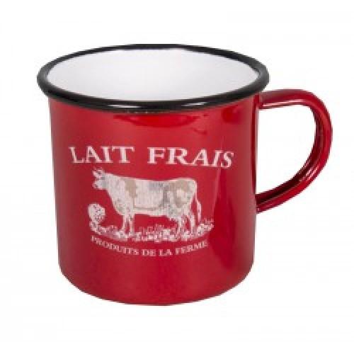 """Mug rouge émaille """"Lait frais"""" motif vache"""