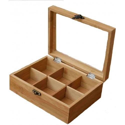 Boîte Bambou à thé et Infusions avec 6 compartiments