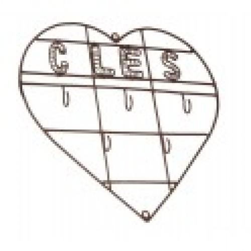 """Porte clés 5 crochets """"coeur"""" en metal"""