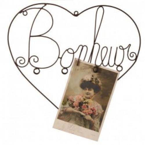 "Porte photos mural coeur ""bonheur"""