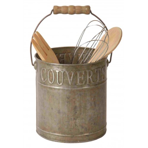 Pot couverts ustensiles une anse en zinc