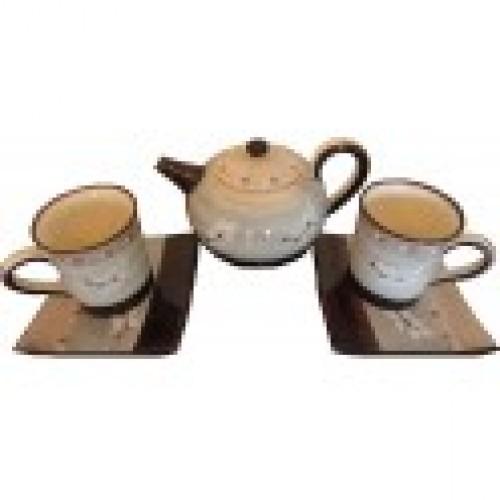 Set petit déjeuner mugs, assiettes, théière grise céramique Vallauris veritable, fait main.