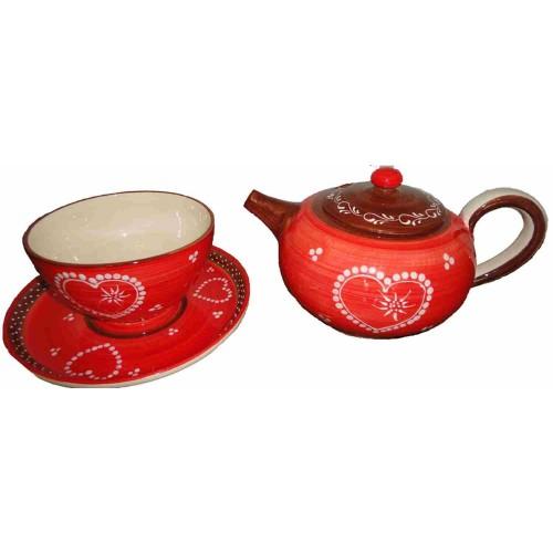 Théière rouge bol et assiette céramique Vallauris veritable, fait main.
