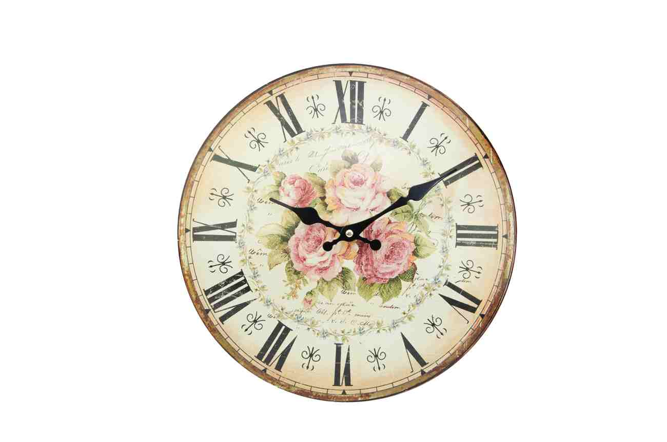 horloge pendule metal bomb e roses. Black Bedroom Furniture Sets. Home Design Ideas