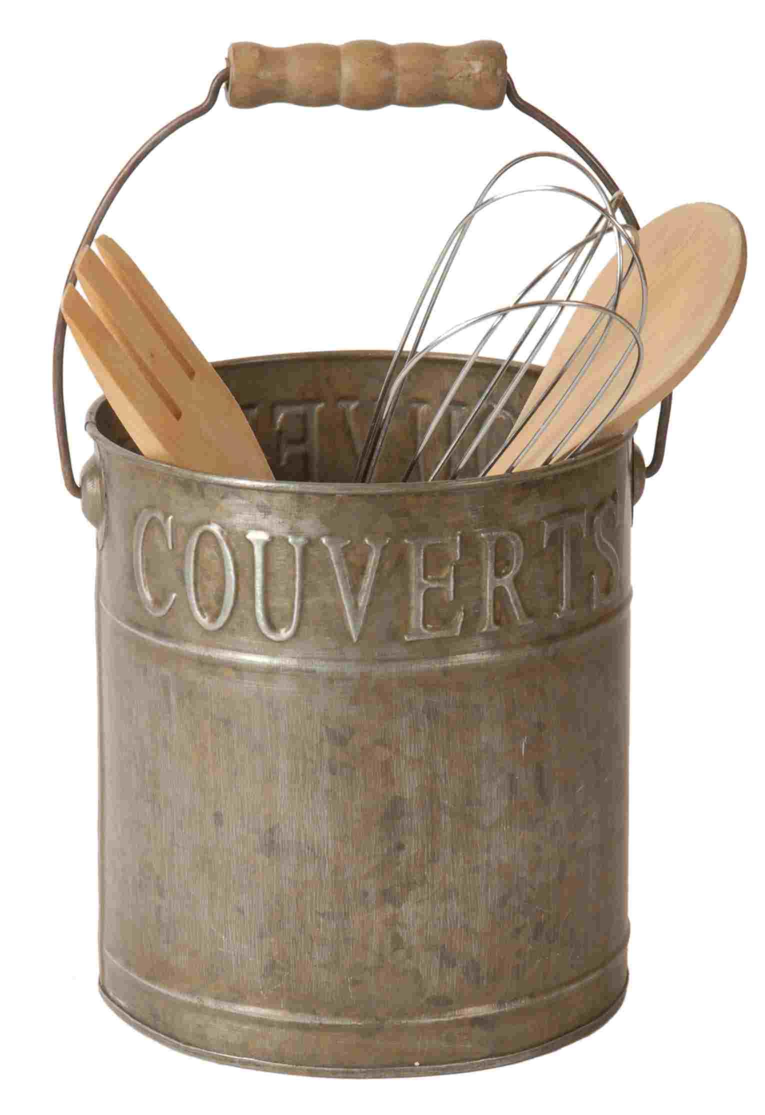 Pot couverts ustensiles une anse en zinc for Objets deco campagne